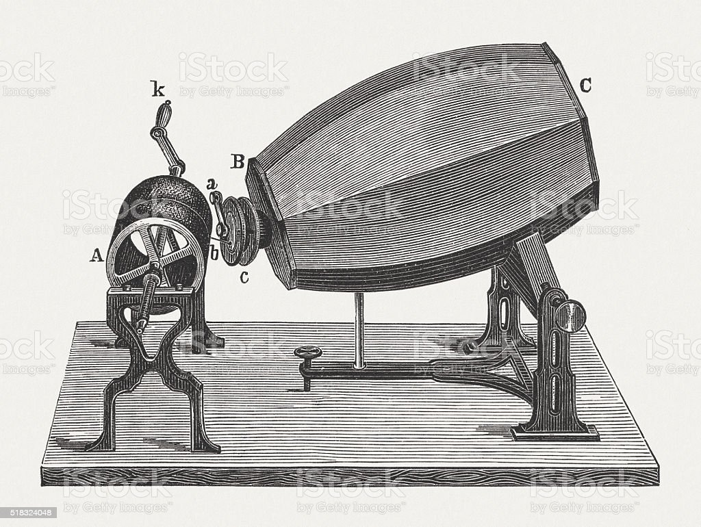 Phonautograph (c. 1860) by Scott and König, published in 1880 vector art illustration
