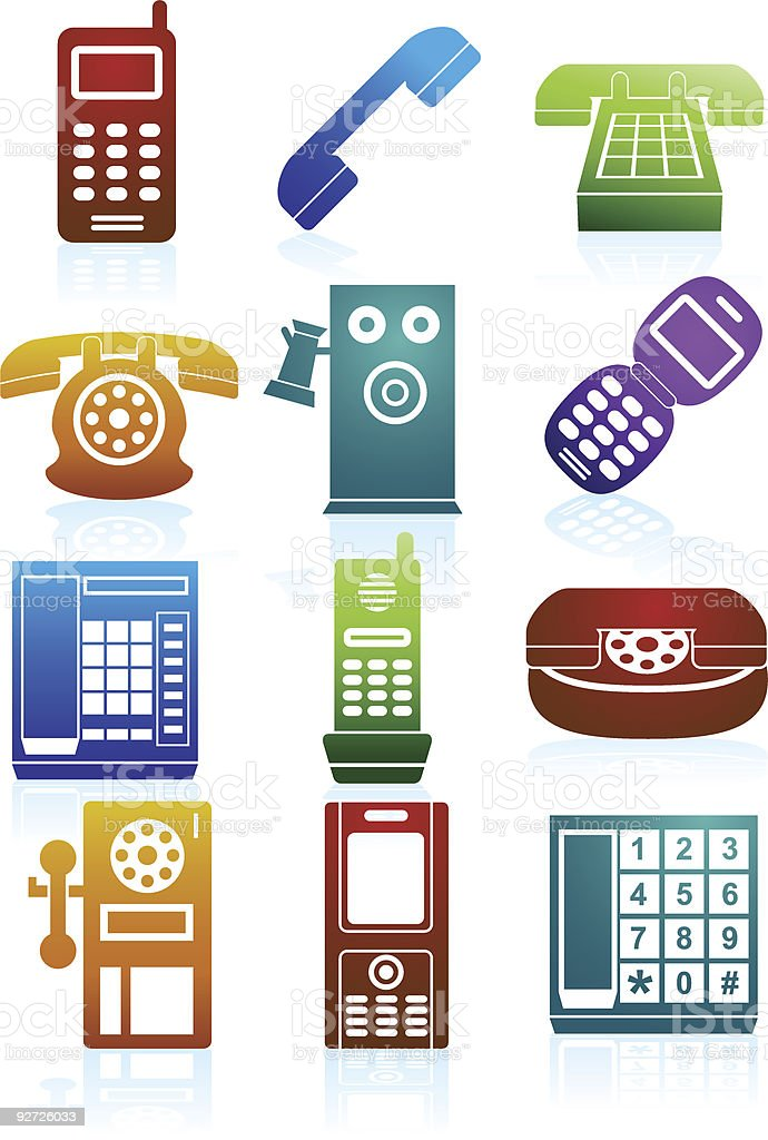 Phone Color Icons royalty-free stock vector art