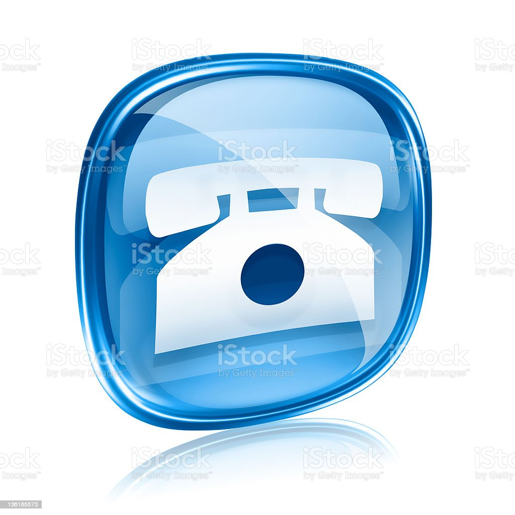 phone icon blue glass, isolated on white background. royalty-free stock vector art