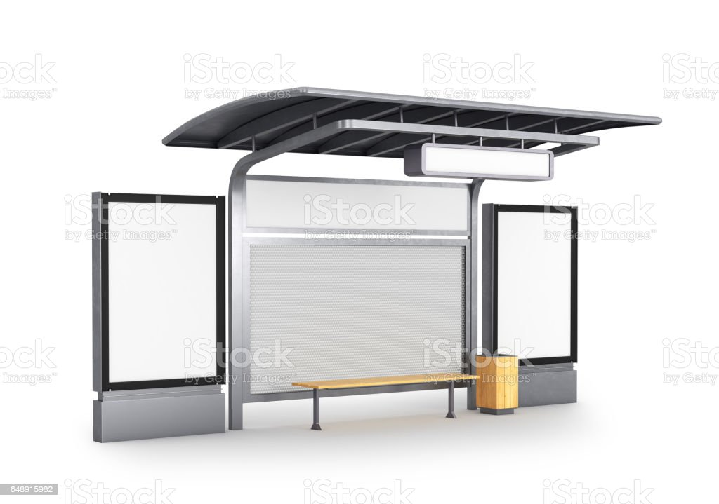 Photo blank lightbox on the bus stop, isolated on white background. 3D illustration vector art illustration
