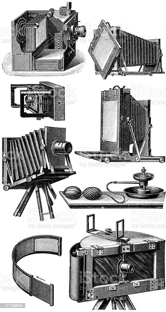 photo cameras vector art illustration