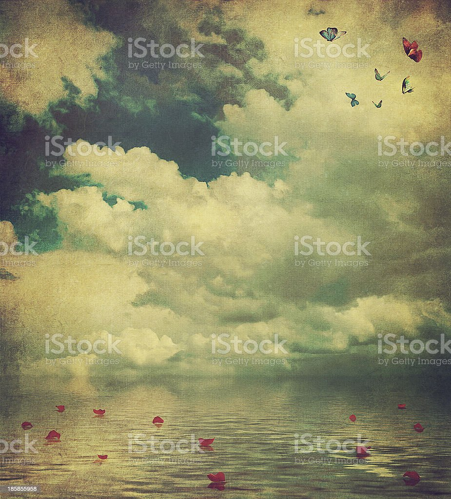 Photo of red objects on a sea landscape royalty-free stock vector art