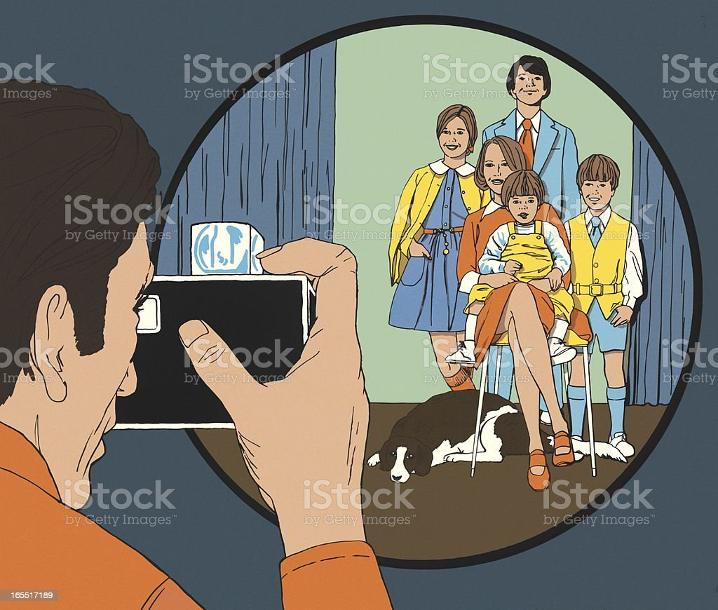 Photographer Taking a Family Portrait royalty-free stock vector art
