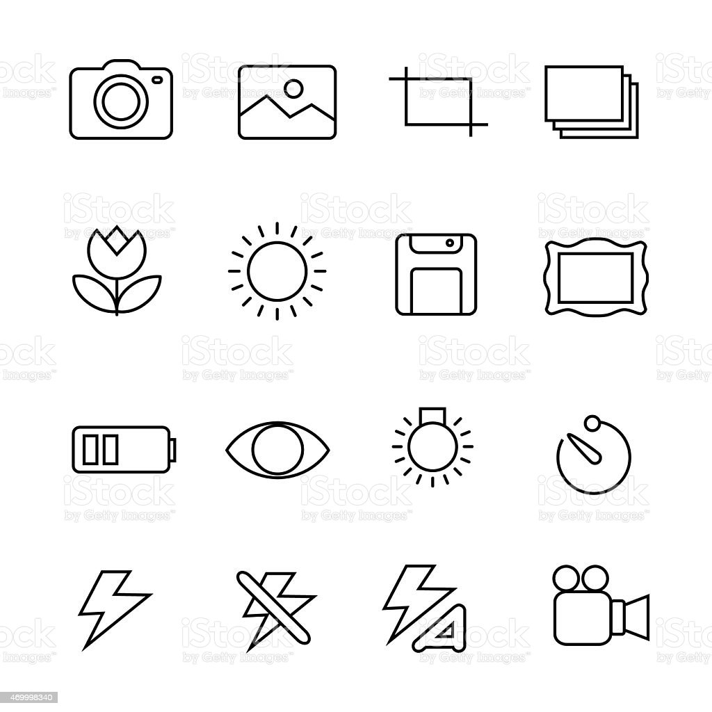 Photography icons on white background vector art illustration