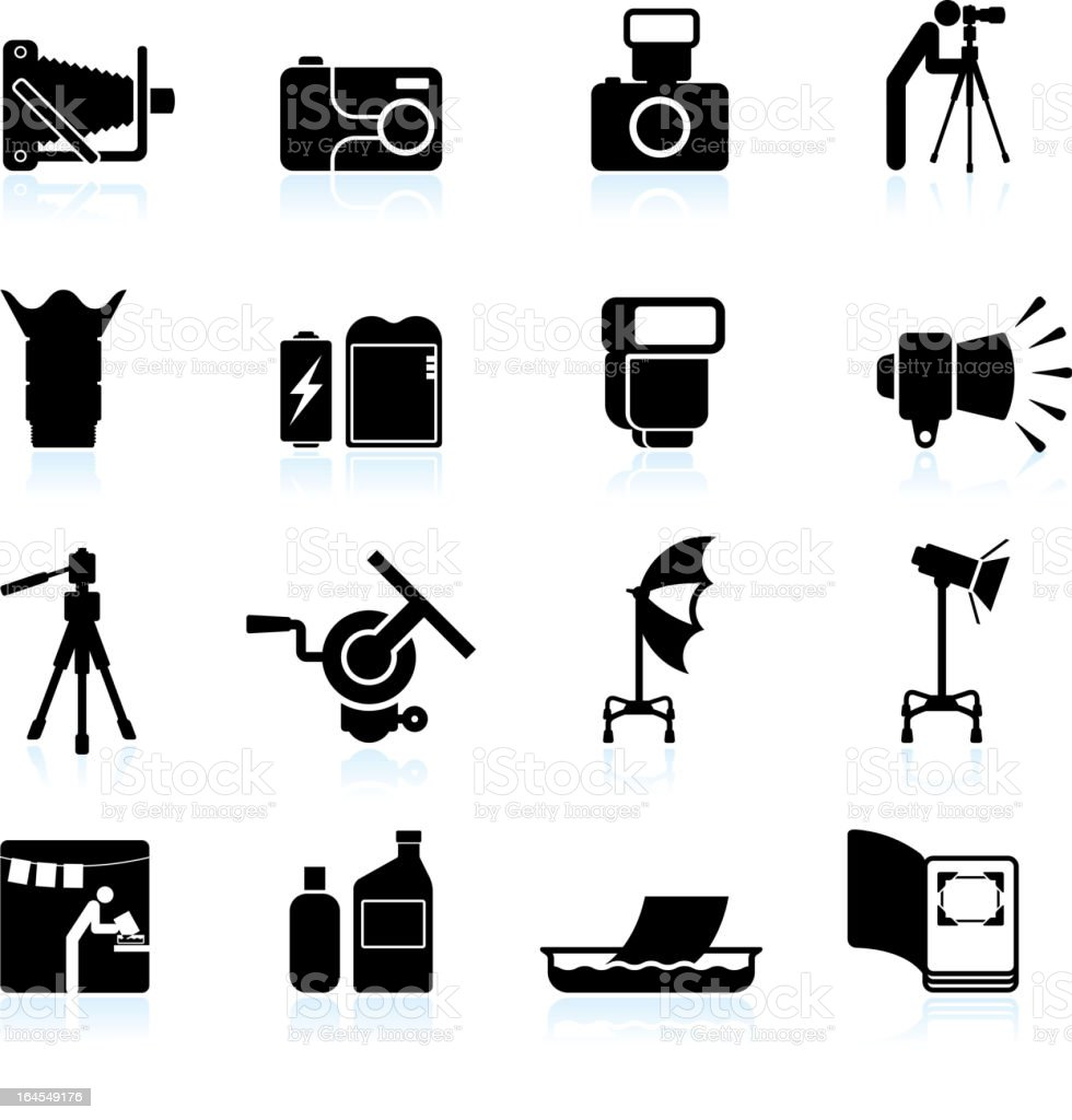 Photography technique black & white royalty free vector icon set vector art illustration