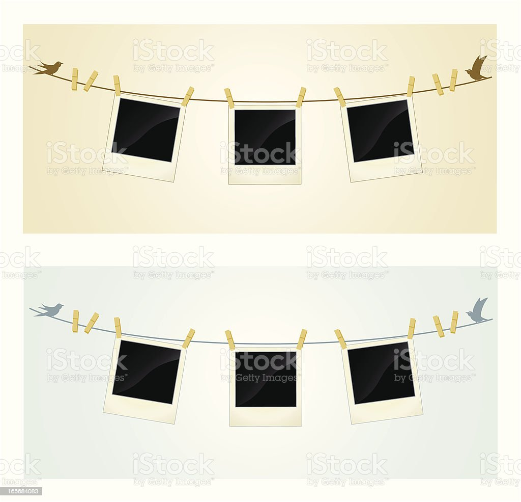 Photos on a Wire vector art illustration