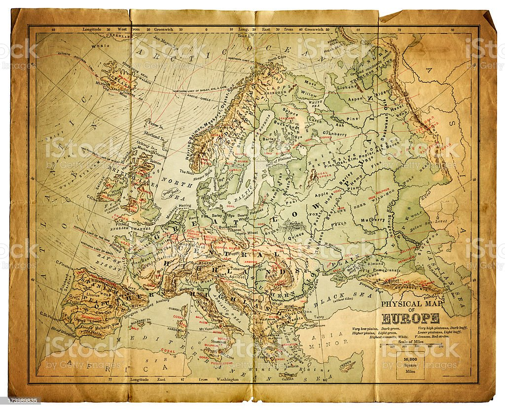 physical map of europe royalty-free stock vector art