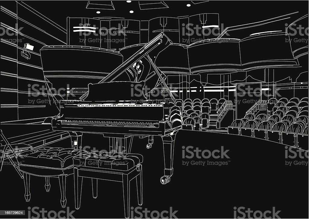 piano in concert hall royalty-free stock vector art