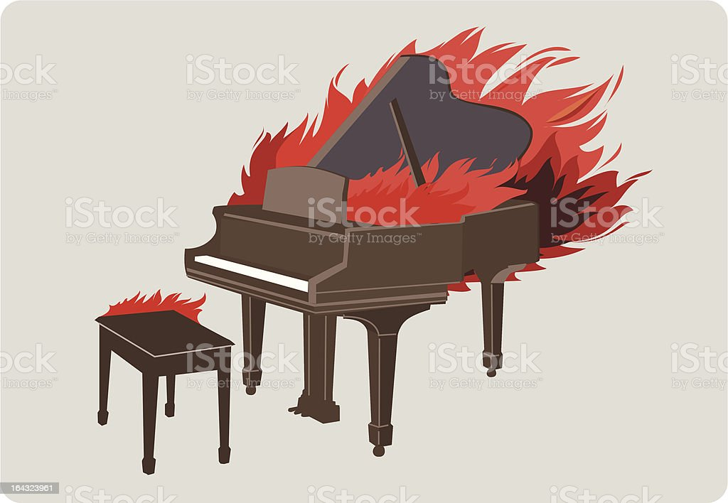 Piano in flames vector art illustration