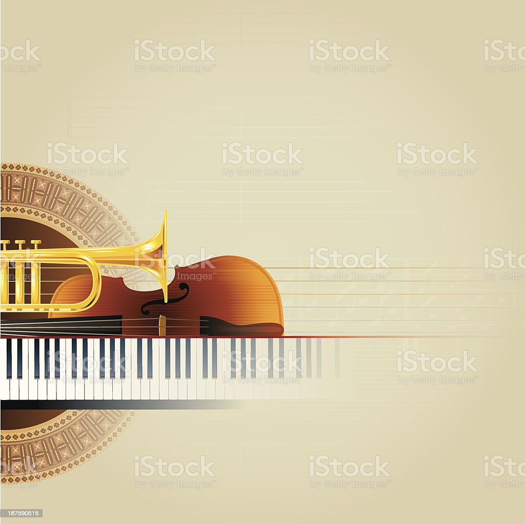 Piano Violin Trumpet Guitar Background royalty-free stock vector art