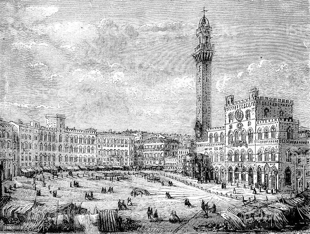 Piazza del Campo, Siena vector art illustration