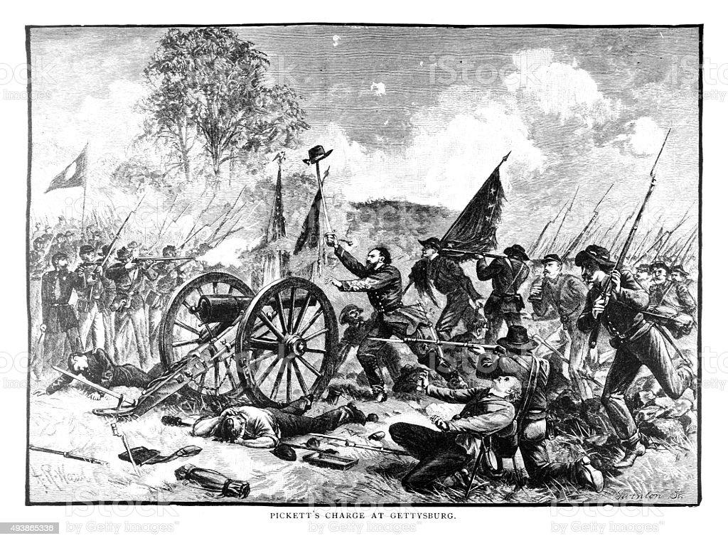 Pickett's Charge at Gettysburg vector art illustration