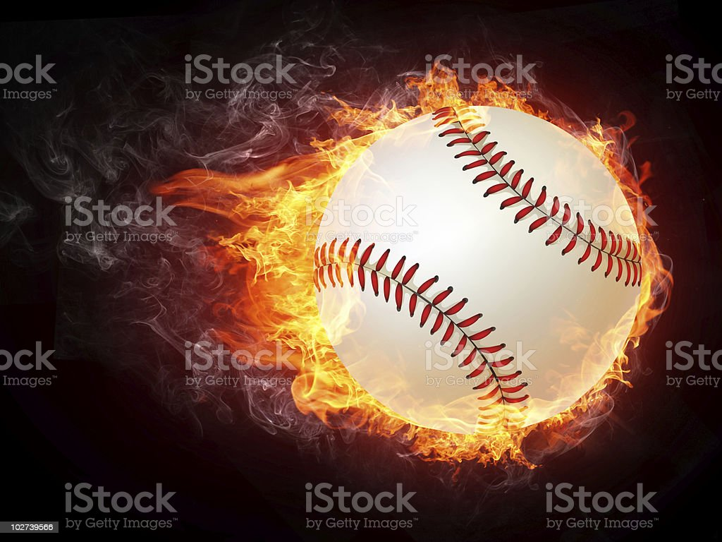 A picture of a baseball on fire vector art illustration