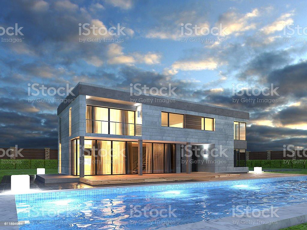 Picture of modern architecture, modern house, design building, night scene vector art illustration