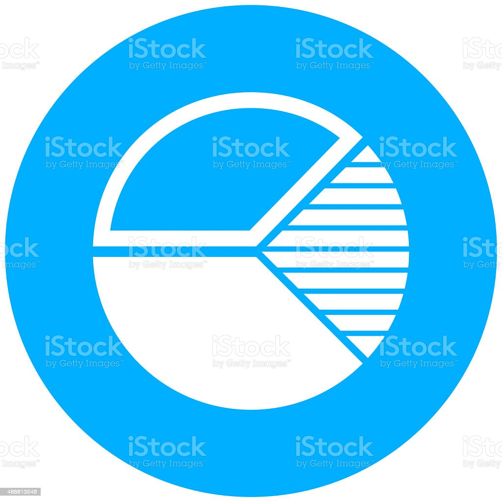 Pie Chart icon on a round button. vector art illustration