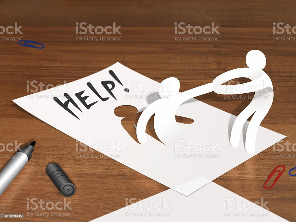 A piece of paper with two people cutouts and the word HELP vector art illustration