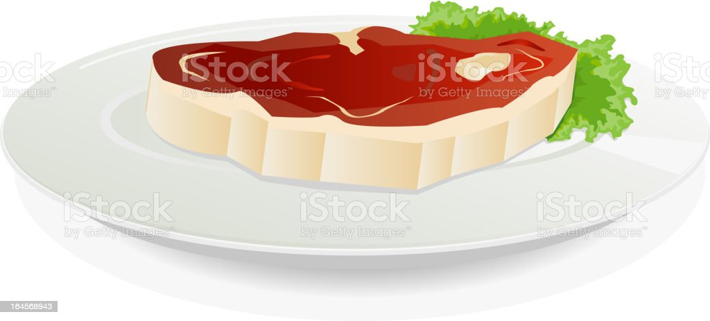 Piece Of Raw Meat On A Dish With Salad vector art illustration