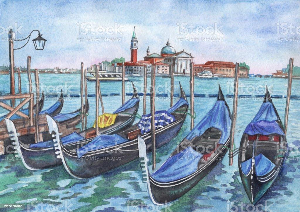Pier in Venice vector art illustration