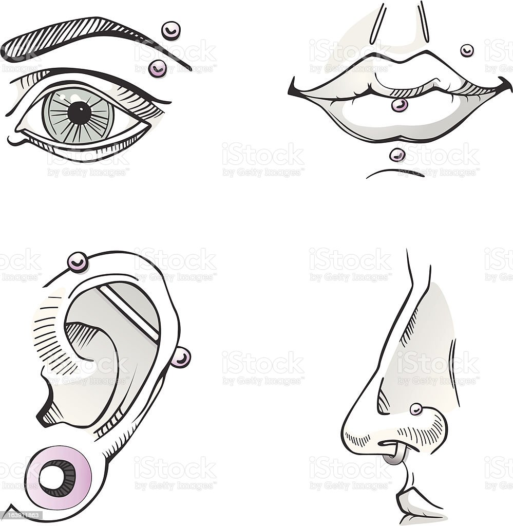 Pierced body parts. Sketch. royalty-free stock vector art