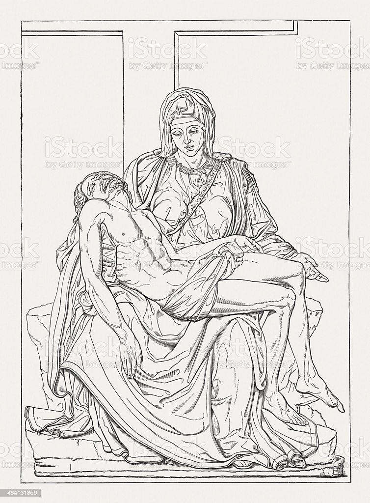 Pietà (St. Peter's Basilica, Vatican) by Michelangelo, published in 1878 vector art illustration