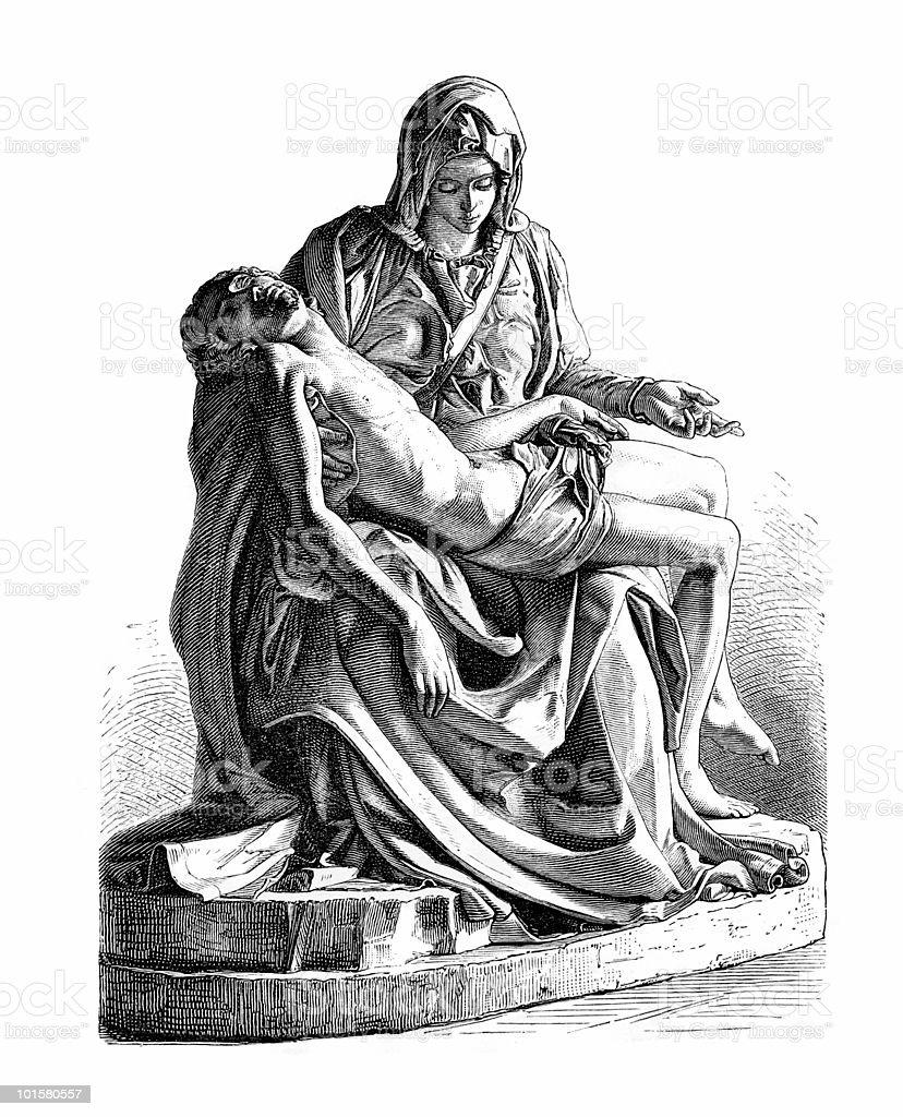 Pieta by Michelangelo royalty-free stock vector art