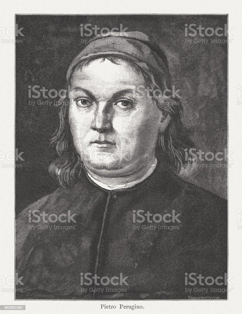 Pietro Perugino (c.1446/52-1523), Italian painter, self-portrait, wood engraving, published 1884 vector art illustration