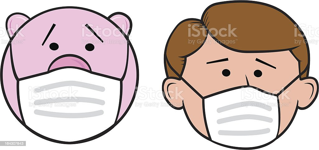 Pig and Man with Surgical Mask vector art illustration