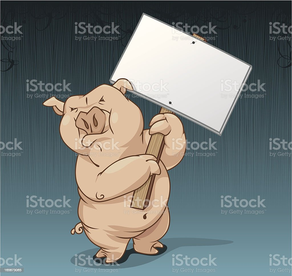 Pig Holding Blank Sign royalty-free stock vector art