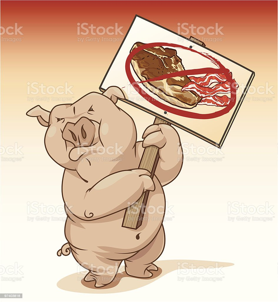 Pig Protesting Pork Products vector art illustration