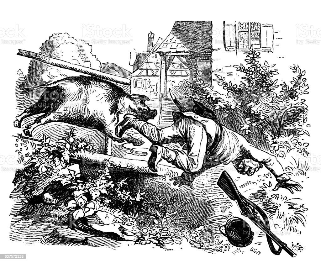 Pig turns down soldier with guns - 1867 vector art illustration