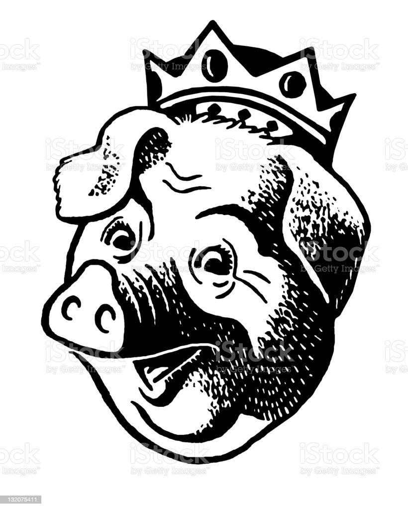 Pig Wearing Crown vector art illustration