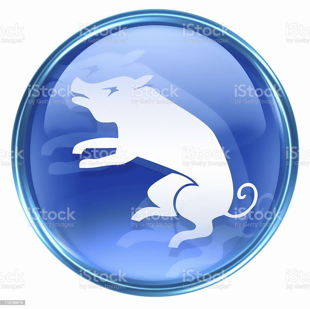 Pig Zodiac icon blue, isolated on white background. royalty-free stock vector art