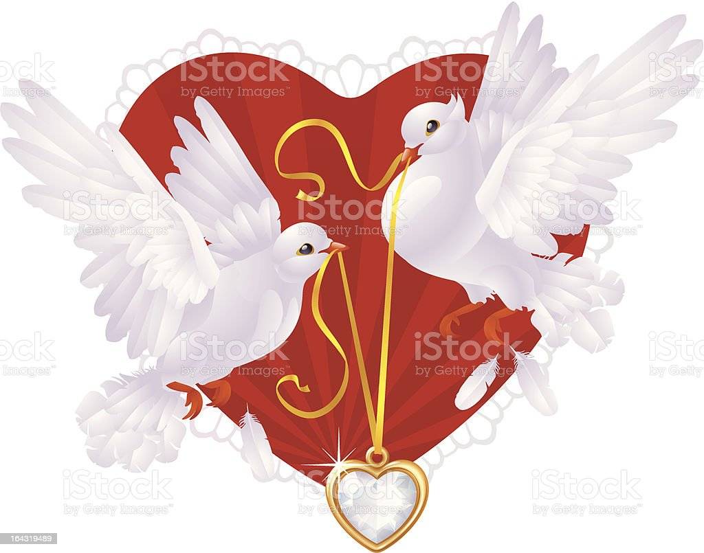 Pigeons and hearts royalty-free stock vector art