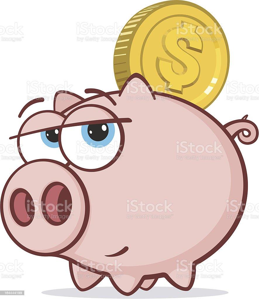 Piggy bank and dollar coin royalty-free stock vector art