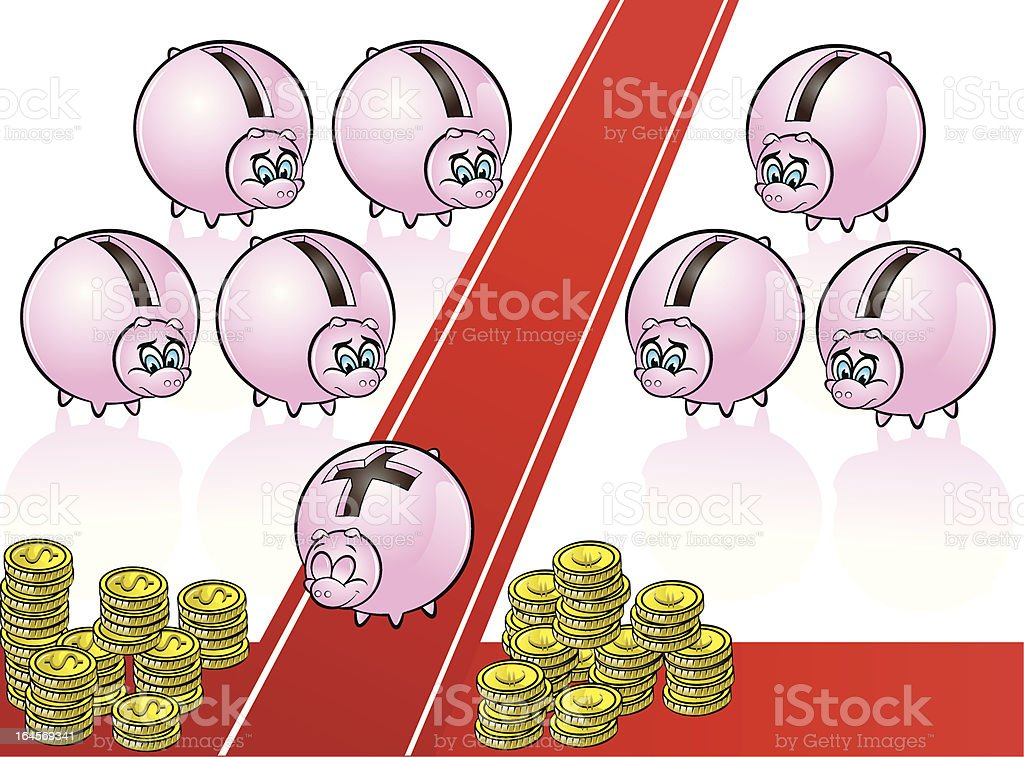 piggy bank on red carpet royalty-free stock vector art