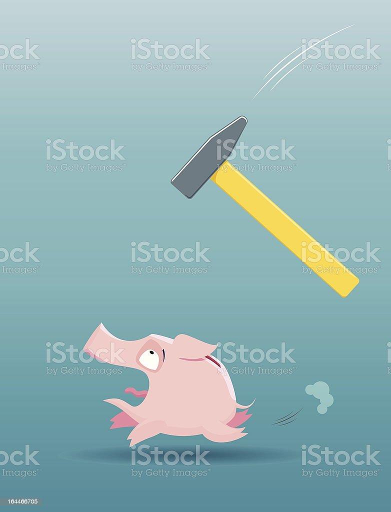 Piggy bank running from the falling hammer royalty-free stock vector art