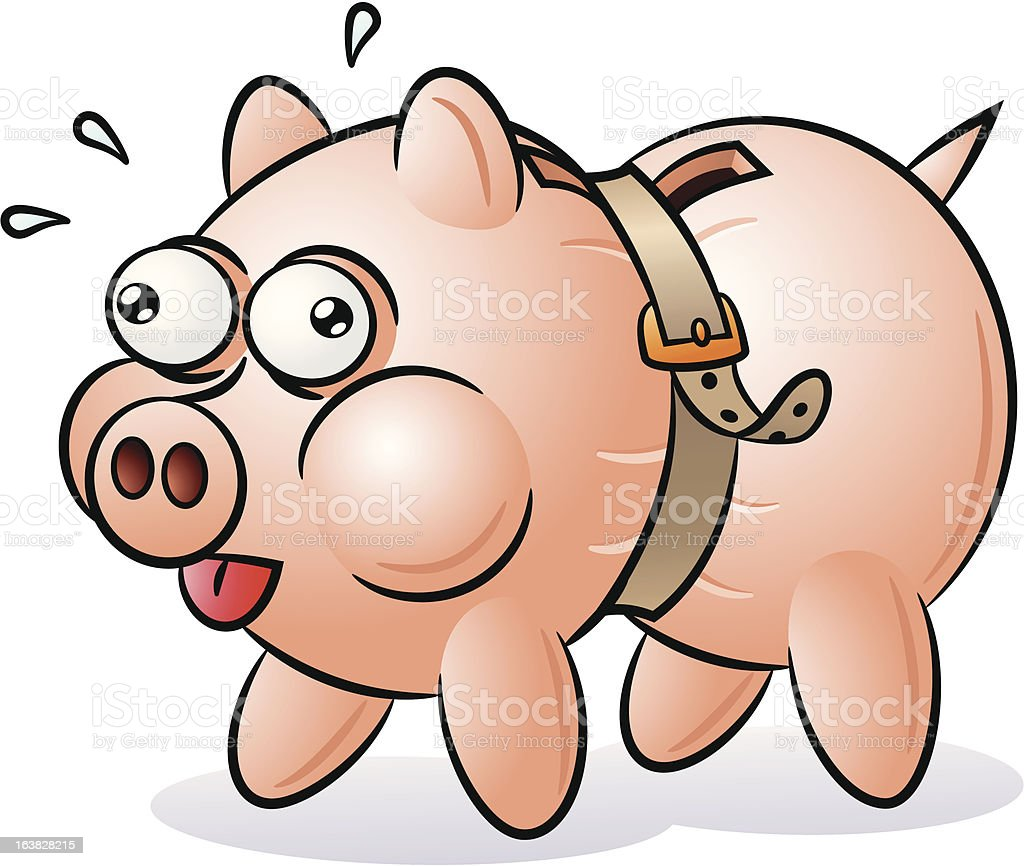 Piggy bank with a tight belt royalty-free stock vector art