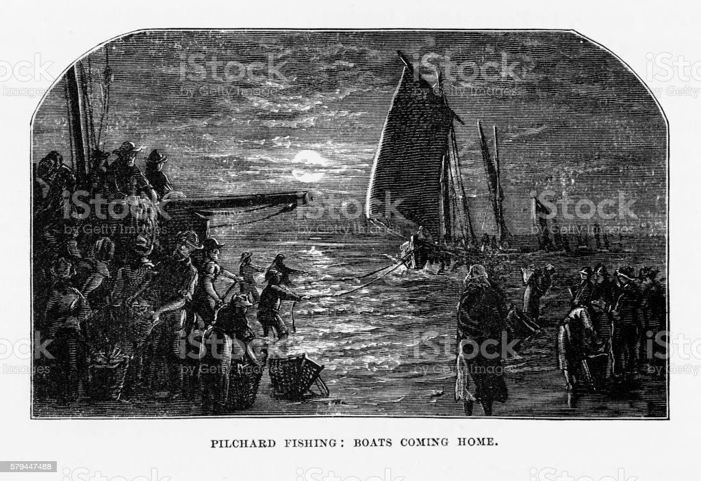 Pilchard Fishing Boats Retuning to Cornwall, England Victorian Engraving, 1840 vector art illustration