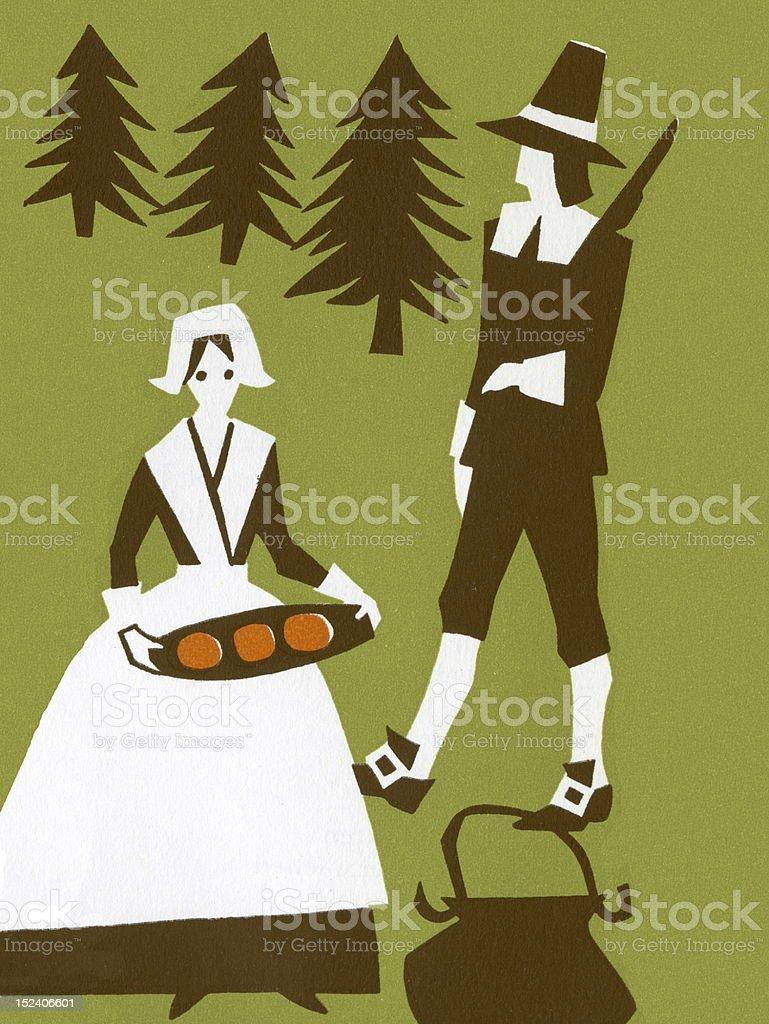 Pilgrims vector art illustration