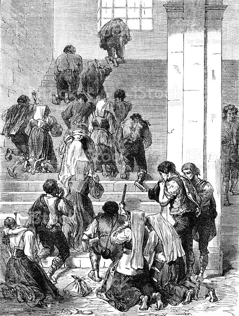 Pilgrims penitent kneeling royalty-free stock vector art