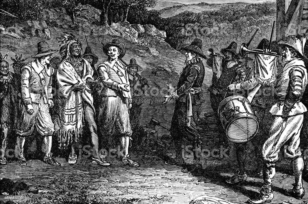 pilgrims receiving Massasoit vector art illustration