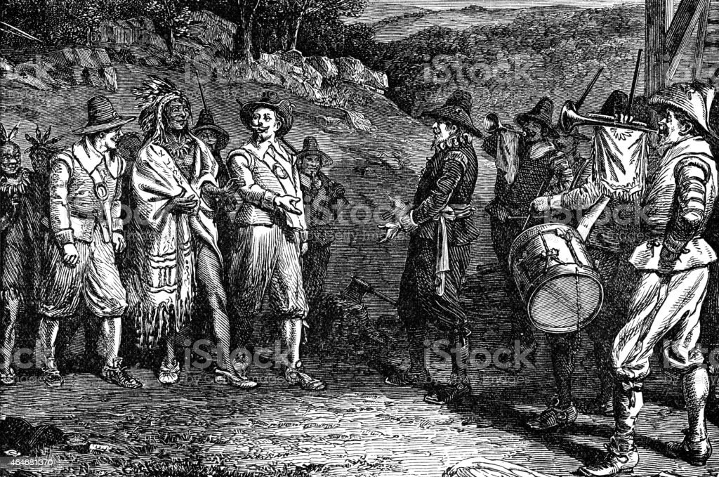 pilgrims receiving Massasoit vector art illustration