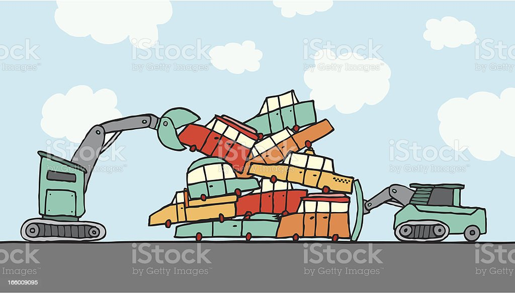 Piling and compacting cars vector art illustration