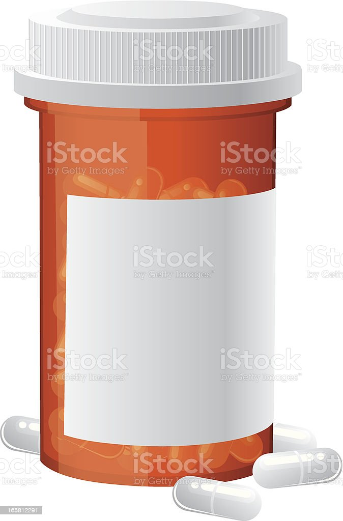 pill bottle vector art illustration