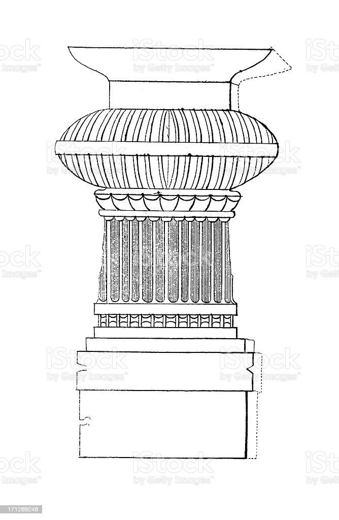 Pillar from Elephanta Caves, India | Antique Architectural Illustrations royalty-free stock vector art