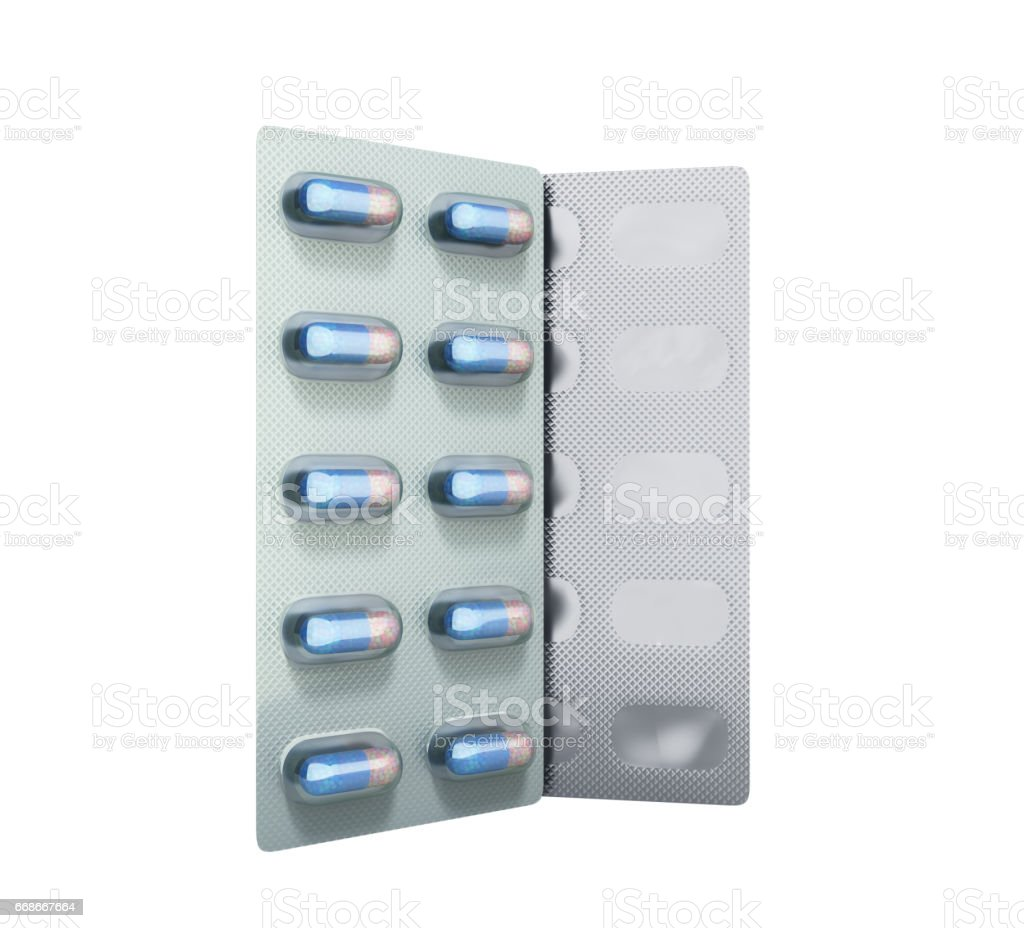 Pills Package Blister 3D illustration no shadow stock photo