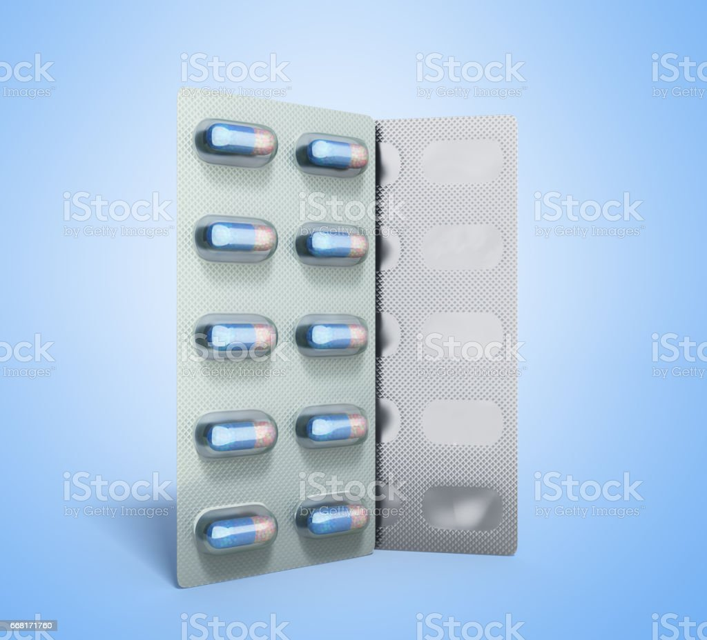 Pills Package Blister 3D illustration on blue stock photo