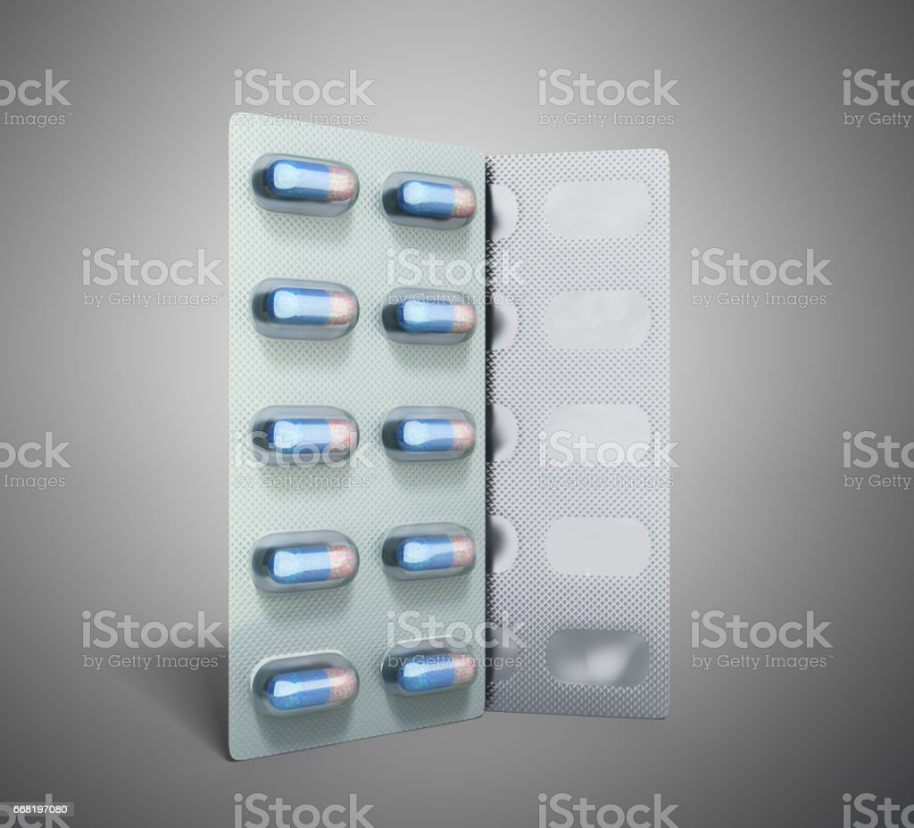 Pills Package Blister 3D illustration on grey stock photo