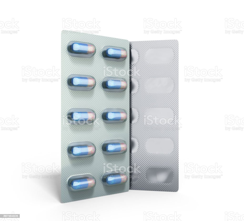 Pills Package Blister 3D illustration on white stock photo