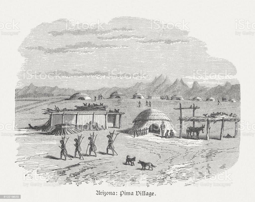 Pima Village, Indigenous peoples in Arizona, wood engraving, published 1880 vector art illustration